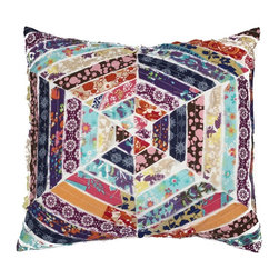 A1 Home Collections - Hexagon Patchwork Cotton Throw Designer Pillow - Intricately crafted using patch work, this hexagon throw pillow features patchwork and uses cotton for soft comfort and a classic vibe.