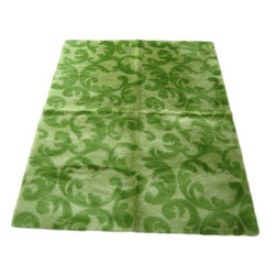 Walk on Me - Contemporary Kiwi/Lime Flourish Rug - Fresh garden of color - fanciful flourish, ultra-soft pile - short, thick fibers  - lime and kiwi - machine washable, hypoallergenic, non-slip