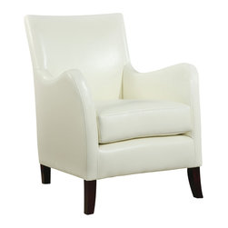 Monarch Specialties - Monarch Specialties 8002 Accent Chair in Ivory Leather - Combining traditional and contemporary design, this luxurious ivory leatherette accent chair consists of waved arms, shaker wood legs, and a uniquely high back for a distinct transitional flair. Sleek and chic, this multipurpose piece works for both formal and casual occasions, offering excellent comfort from its extra-thick boxed seat cushion and padded back.