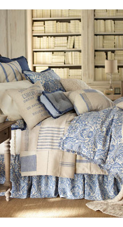 """French Laundry Home - French Laundry Home King Floral Duvet Cover, 108"""" x 98"""" - A relaxed and charming bedding ensemble in indigo and ivory. Made in the USA of linen and cotton by French Laundry Home. Patchwork patterns on coverlets will vary. Dry clean. Gathered floral dust skirts have an 18"""" drop. Cotton knit throw and matchi..."""