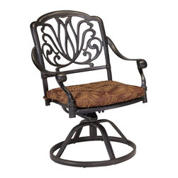 Home Styles - Home Styles Floral Blossom Swivel Chair with Cushion in a Charcoal Finish - Home Styles - Outdoor Chairs - 555853 - By combining outdoor elements such as ceremonial and abstract floral designs the Floral Blossom Swivel Chair with Cushion by Home Style is brought to life.