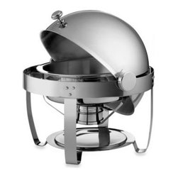 Tramontina - Tramontina 6-Quart Round Stainless Steel Chaf in g Dish with Roll-Top Lid - This chafing dish is an elegant item that is perfect for serving hot appetizers, side and main dishes when hosting parties and events. The mirror polished 18/10 stainless steel dish features a space-saving dome lid which rolls open for serving.