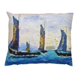 Roweboat art Inc - Vintage Sailboats, Linen Pillow With Down Blend Insert, 18x24 - Original art on linen fabric