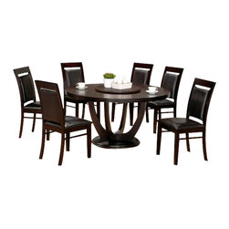 "Casa Blanca - 7-Piece Richmond Collection Round Espresso Finish Wood Dining Table Set - 7-Piece Richmond collection round espresso finish wood dining table set with leather like upholstery on the seats and backs. This set includes the table with round top and 6 side chairs upholstered in a leather like seat and back. Table measures 54"" Dia. X 30"" H. Some assembly required."