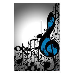 "Maxwell Dickson - Maxwell Dickson ""Music Notes"" Modern Pop Art Canvas Print Wall Artwork - We use museum grade archival canvas and ink that is resistant to fading and scratches. All artwork is designed and manufactured at our studio in Downtown, Los Angeles and comes stretched on 1.5 inch stretcher bars. Archival quality canvas print will last over 150 years without fading. Canvas reproduction comes in different sizes. Gallery-wrapped style: the entire print is wrapped around 1.5 inch thick wooden frame. We use the highest quality pine wood available."