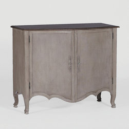 Noemie Commode by Gabby - The combination of mixed materials brings a twist to a traditional French styled commode. This piece's simple elegant shaped doors are accentuated with unique painted burlap covered doors and antique style door handles.