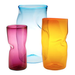 "Esque - Slumped Vase, Orange, 18"" Tall - Pucker up for these hot vases. In three different sizes and colors, the glass is blown thin then heated until soft, one-of-a-kind puckers form. They'd look great arranged in a group of three or slouching alone like a brooding yet colorful teen."