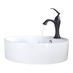 Kraus - Kraus Sink Ventus Basin Faucet Rubbed Bronze - Add a touch of elegance to your bathroom with a ceramic sink combo from Kraus
