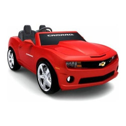 NPL Chevrolet Camaro 12 Volt Car Riding Toy - Red - Kids can cruise the block in style with the NPL Chevrolet Camaro 12 Volt Car Riding Toy - Red. This officially licensed kid's battery-operated version of the Chevrolet Camaro is sure to make your kids smile. The 12-volt battery propels two passengers at a cruising speed of up to 5 mph when the gas pedal is pressed while releasing the pedal brings the car to a smooth stop. The car's interior keeps young drivers entertained with electronic sound buttons that play different authentic effects. The vehicle has a FM radio and a MP3 outlet for the young rider to play music from any MP3 and/or iPod. The vehicle runs for up to 1 hour on a full charge. Weighs 66 pounds. Dimensions: 59L x 31W x 23H inches. About Big Toys USABig Toys USA is an exclusive U.S. distributor for high-quality ride-on toys from Spain Germany China and Italy along with a complete line of American-made rideable toys. Big Toys represents Fisher Price Power Wheels Big Injusa Kid Trax Mini Motos Feber NPL Evo Powerboards and Toys Toys. Big Toys focuses on quality safety value and most of all Big Fun.
