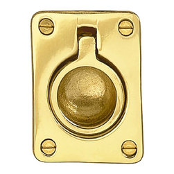 "Renovators Supply - Cabinet Pulls Bright Solid Brass Ring Cabinet Pull - This solid brass ring pull can be used facing either direction depending on your need.  It measures 2 1/2"" x 1 3/4"" and is 1/2"" deep.  It has 4 screw holes.  It is not spring loaded."