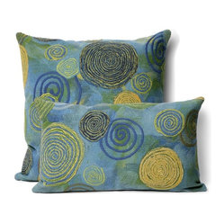 Polyester Microfiber - Graffiti Swirl Pillow, Cool, 12'' x 20'' - The colors, fun swirly pattern and softness of this indoor/outdoor pillow are exactly what your patio or porch is crying out for. It's made in an antimicrobial, polyester microfiber fabric that can withstand outdoor use and comes with a zippered cover in your choice of sizes and colors.