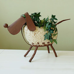 Marshall Home and Garden - Dog Rock Planter - Made from durable iron and rock, this creature provides your outdoor scene a whimsical touch as it holds a plant.   Plant not included 12'' H Iron / rock Imported