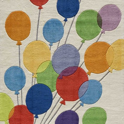 Momeni - Momeni Lil Mo Whimsey LMJ16 (Multi Balloons) 5' Round Rug - Forest critters, retro robots and mod flowers, oh my! Quirky motifs combine to put 'Lil Mo Whimsy in a class by itself. Hand-tufted of soft mod-acrylic, this collection features hand-carving for added texture and a vibrant color palette to make it as fun as it is unique.