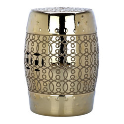 Safavieh - Palermo Garden Stool - Classic but with newfound glamour, the Palermo garden stool is designed for use as a seat, table or plant stand. Crafted of ceramic with electroplated metallic gold finish, this beautifully detailed piece adds drama indoors or out in the garden.