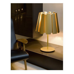 Tango - Twist Table Lamp - Twist Table Lamp features an aluminum shiny lacquered frame available in white, beige, black or gold color options. Two 150-watt, 120 volt A19 medium base incandescent bulbs are required, but not included. Dimensions: 17.7W x 28.7H.