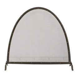 Arteriors - Macon Screen - Distinguished by its simplicity and elegant lines, this classic fire screen is finished in natural iron and detailed with antique brass rivets.  Its simplicity works as well in a modern environment as in a more traditional one.  Iron mesh provides a shield from flying embers.