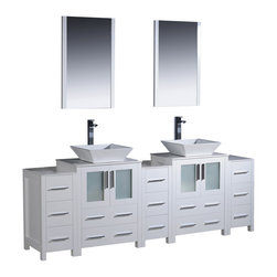 "Fresca - Fresca Torino 84"" White Double Sink Vanity w/ 3 Side Cabinets & Sinks - Dimensions of vanity:  84""W x 18.13""D x 35.63""H. Dimensions of mirror:  20.75""W x 31.5""H x 1.25""D. Materials:  Plywood w/ veneer, ceramic sinks. Single hole vessel faucet mounts. P-traps, faucets, pop-up drains and installation hardware included.  Fresca is pleased to usher in a new age of customization with the introduction of its Torino line.  The frosted glass panels of the doors balance out the sleek and modern lines of Torino, making it fit perfectly in either town or country decor.  Available in the rich finishes of Espresso, Glossy White, Light Oak and Walnut Brown."