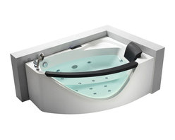 EAGO - EAGO AM198-L 5' Left Drain Rounded Clear Modern Corner Whirlpool Bath Tub - We are very excited to offer you this breath taking AM198-L EAGO whirlpool bath tub! The design has changed the concept of bathtubs to something like a 'pool' and makes you feel so close and intimate with water. It will release your natural deep desire for the basic element of life; H2O.This tub features a beautiful design which will add the finishing touches to any bathroom. We are confident that you will indulge in a state of complete relaxation and tranquility with all the features that this tub has to offer. Be prepared to purchase luxury at its finest!