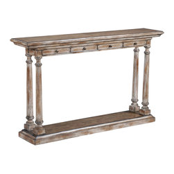 Ambella Home - Tapered Column Console Table - This heavily distressed, slim console table will have you speaking Italian in no time. The four columns support the beautiful, hand-rubbed top with four storage drawers and antique pulls.