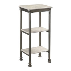 Home Styles - Home Styles The Orleans Three Tier Tower in Gray and Marble - Home Styles - Storage Racks - 5760103 - Inspired by 18th century French Creole Cottages the slotted shelves with casted fitted feet and capped legs are reminiscent of French Quarter architecture. The Orleans Three Tier Tower by Home Styles is constructed of powder-coated metal with marble laminate shelves. This multifaceted storage shelf will meet all your storage needs and will complement any bathroom.  The Three Tier Tower is equipped with three 9.75 inches by 7.75 inches fixed shelves.  Other features include levelers on the feet for added stability.  Assembly required.