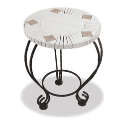 Uniflame - 18 inch Mosaic Ceramic Tile Accent Table - Ceramic tile side table pairs perfectly with fire pit #WAD506AS.  Round table top with mosaic design of white and beige tile pieces.  18 inch diameter has ample space for your drink and plate.  Black powder coated steel base has enough weight to keep it stable.  Three steel legs curve out and then swirl to create the feet. * 18 in. table. Matches WAD506A outdoor fireplace. Heavy steel legs. mosaic design tabletop. 18 in Diameter