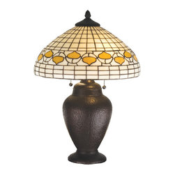 """Meyda Tiffany - 23.5""""H Tiffany Acorn Table Lamp - Louis Comfort Tiffany inspired Autumn Harvest Honey Acorns circle a Beige geometric grid patterned shade. The handsome simulated hand hammered lamp base is hand finished in Warm Mahogany Bronze."""