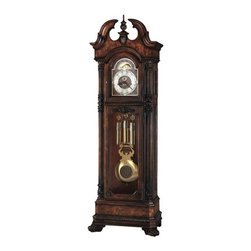 "Howard Miller - Howard Miller - Reagan Floor Clock - Time majestically moves from second to second in this handsome Kieninger Grandfather Clock defined by Hampton Cherry finish and maneuverable levers, a breathtaking home addition to romanticize your home's decor. Time comes to a standstill with this regal Kieninger grandfather clock. The old style look of the design is accented by the rich Hampton cherry finish and brass accents of the face and mechanics. The moon phase dial features a presidential collection design. Intricate carved moldings and floral designs complete the look. * An extraordinarily detailed floor clock with bookmatched olive ash burl gracing the front and sides of the unique swan neck pediment, and a carved urn finial and finial support add the finishing touch. The hand-rubbed, Hampton Cherry finish is distressed for an aged appearance. The elaborate dial includes raised brass Arabic numerals, cast center and corner ornaments, and a moon phase with exclusive Presidential Collection hemispheres. A cast center disk on the polished brass pendulum mirrors the dial, and polished brass weight shells with decorative bands complete the picture. Canted columns with large reeds and intricately carved caps frame the beveled glass doors. Additional flourishes include a carved molding below the dial and carved floral overlays framing the locking lower door. Attention to detail continues on the multi-tiered base, where you?ll find canted corners, olive ash burl, wrap-around carved moldings, and uniquely elegant carved feet. The beveled glass doors on the upper sides offer easy access to the movement and storage of the hand crank and door key. . Cable-driven, triple chime Kieninger movement offers automatic nighttime chime shut-off option. Lightly distressed finish in Hampton Cherry on select hardwoods and veneers. Adjustable levelers under each corner provide stability on uneven and carpeted floors. Locking door for added security. You will receive a free heirloom plate, engraved with name and date, by returning the enclosed request card to Howard Miller. . 93"" H x 31-1/2"" W x 18-1/2"" DManufacturer?s 2 Year Warranty"