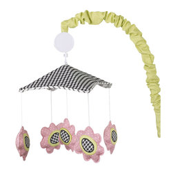Cotton Tale Designs - Poppy Musical Mobile - A quality baby bedding set is essential in making your nursery warm and inviting. Cotton Tale uses quality materials and unique designs to create your perfect nursery. Part of the Poppy collection this mobile has hounds tooth black and white canopy with strip cord. Bright pink poppies with citrus green arm cover and trim. Wind up music box plays Brahmans lullaby. Spot clean only. Mobiles are not toys and should be removed from the crib when baby can sit up unassisted. Perfect for your little girl.