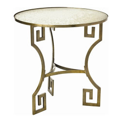 "Arteriors - Arteriors Home - Dunmoore Greek Key Brass Mirror Side Table - 6334 - Solid brass ""bamboo"" accent table. Oval glass top and bottom shelf makes this a very practical choice. Features: Dunmoore Collection Side Table Antique Brass Finish Antique Mirror Some Assembly Required. Dimensions: H 28"" x 28"" Dia"