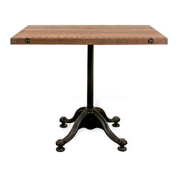 Kathy Kuo Home - Pedro Reclaimed Wood Industrial Rectangular Bistro Cafe Dining Table - Been searching for the perfect table for your breakfast nook? Consider the search complete. This stunning reclaimed industrial table features cast iron curved legs and a natural hardwood top. Bring a bit of Parisian bistro to your kitchen, with an antique piece that feels like it should come complete with check board floors and pomme frites. A chic statement that'll have you clamoring for pancakes multiple times a day, this table is vintage industrial style at its best. Enjoy a one year warranty on this piece.