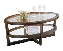 Homelegance - Homelegance Vista Cocktail Table in Cherry - Homelegance - Coffee Tables - 320630 - Sleek lines and bold curves surround the glass top of the Vista Collection. The collection features an espresso cherry finish and inset display shelves