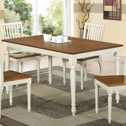 Monarch - Antique White/Oak Veneer 36in. x 60in. Dining Table - Bring style to your home with this charming 36 in. x 60 in. dining table featuring turn post legs and a beautiful two-tone finish. This antique oak and buttermik finished table brings rustic charm to any dining area.