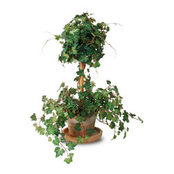 New Growth Designs - Single Ivy Topiary - You can have it both ways: This charming, curly ivy topiary adds the relaxed ambience of a country garden to your interior. But, being a perfect artificial replica of the real thing, it requires none of the dirty work on your part.