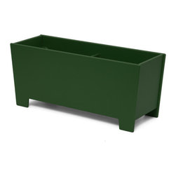 Loll Designs - Rectangle Planter 18 Gallon, Evergreen - The Loll Flora Collection was created to work in a variety of outdoor garden settings. The recycled and recyclable poly material is made to withstand the test of time and extreme weather. In addition, the joinery on our modern containers allow for a slow, seeping drainage and holes can easily be drilled in the bottom if desired. All pieces are flat-packed with simple, fun, and intuitive assembly.