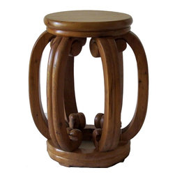 Accent Table with Lion's Claws - Draw inspiration from a traditional Chinese stool, this rustic accent table with six sturdy legs ending with lion claws adds exotic appearance to a room.