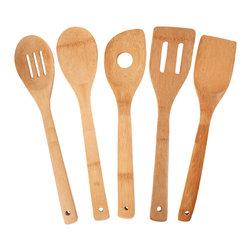 Totally Bamboo 5 Piece Utensil Set - This Totally Bamboo 5 piece utensil set features strength and style.  This set includes a turner  spoon  slotted spoon  slotted spatula  and straining spoon.  These bamboo tools are 16% harder than maple giving you durability and strength.Product Features                        6 piece set            Each tool features a hanging eyelet