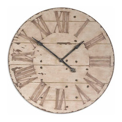 "Uttermost - Uttermost Harrington 36"" Wooden Wall Clock 06671 - Features an antiqued ivory face with gentle distressing around the outer rim and dark chestnut undertones. Requires 1AA battery."