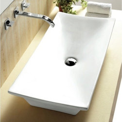 "Caracalla - Modern Unique Rectangular Ceramic Bathroom Vessel Sink - Modern style rectangular white ceramic sink without overflow. Sink is designed in Italy by Caracalla. Above counter vessel sink comes with no faucet holes. Sink dimensions: 31.89"" (width), 5.71"" (height), 15.75"" (depth)"