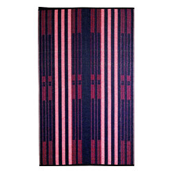 b.b.begonia - Bricklane- Designer/ Outdoor/Reversible Rugs made with recycled Plastic, 6x9 - A pleasingly simple stripe pattern in blue and red. This reversible mat is a great solution for the sunroom, for the patio, for the deck, by the pool or in the yard.