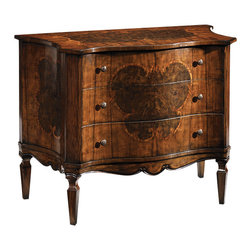 "Inviting Home - 18th century Style Chest - 18th century style three drawer chest in walnut veneer inlaid with olive and rosewood antiqued brass hardware; 43-1/2""W x 21-1/2""D x 38-3/4""H hand-made in Italy Hand-crafted 18th century style three drawer chest. This gorgeous chest walnut veneer inlaid with olive and rosewood and has antiqued brass hardware. This inlaid chest is hand-made in Italy."