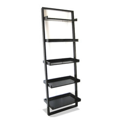 "JR Home Collection - Leaning Ladder Shelf - Add modern style and great function to any room with this 72"" espresso leaning ladder shelf. Perfect as storage and decor this leaning shelf comes knock-down for easy handling."