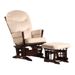 Dutailier - Dutailier 2 Post Glider and Ottoman Set in Coffee and Light Beige - Dutailier - Gliders & Rockers - C0182A623093 - About This Product: This Two Post glider and ottoman combo offers an exceptionally smooth and extra long glide motion with thick cushions and padded arms. The mechanism locks the glider in 6 different positions and makes it easier to sit in or step out of the glider. It will be the perfect addition to your child�s nursery or living room. There are no sharp edges, the finish is toxic free and this product meets all safety standards.