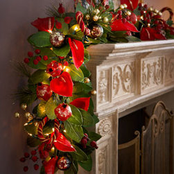 "Horchow - 6' Rich Wine-Colored Garland - Exclusively ours. This garland in rich wine is a cheerfully warm addition to holiday decor. Handcrafted. Made of leaves, flowers, berries, fruit, and rope. Prelit with 100 twinkling lights. 12""W x 8.5""D x 72""L. Imported."
