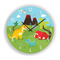"Nursery Code - Dinosaurs and Volcano Wall Clock for Kids Room, 16"" Diameter - Nursery Wall Clock, Dinosaurs and Volcano- Boys room decor."