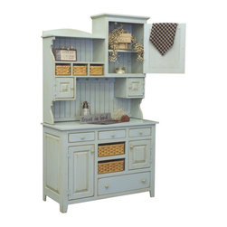 Chelsea Home - 2-Pc Hutch in Seafoam Finish - Includes handmade woven baskets. Screws used to hand assemble furniture. Tack slides on feet. Standard finish uses a sealer and two coats of paint. Sand through then sprayed with stain and wiped off. Great durability and strength. Handcrafted heirloom quality furniture. Clean lines, ingenuity and impeccable. Made from eastern white pine. Made in USA. No assembly required. 48 in. W x 21 in. D x 82 in. H (175 lbs.)Chelsea Home Furniture proudly offers heirloom quality furniture, custom made for you. What makes heirloom quality furniture? Its knowing how to turn a house into a home. Its creating memories. Its ensuring the furniture you buy today will still be the same 100 years from now! Every piece of furniture in our collection is built by expert furniture artisans with a standard of superiority that is unmatched by mass-produced composite materials imported from Asia or produced domestically. Many pieces are signed by the craftsman that produces them, as these artisans are proud of the work they do! In addition, our craftsmen use tongue-in-groove construction, and screws instead of nails during assembly and dovetailing both painstaking techniques that are hard to come by in todays marketplace. And with a wide array of stains available, you can create an original piece of furniture that not only matches your living space, but your personality. So adorn your home with a piece of furniture that will be future history, an investment that will last a lifetime. Each table comes complete with a solid bottom shelf to store magazines, DVDs and other entertainment items.