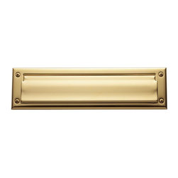 Baldwin Hardware - 0012 Letter Box Plate in Lifetime Polished Brass (0012.003) - Feel the difference Baldwin hardware is solid throughout, with a 60 year legacy of superior style and quality. Baldwin is the choice for an elegant and secure presence. Baldwin guarantees the beauty of our finishes and the performance of our craftsmanship for as long as you own your home.