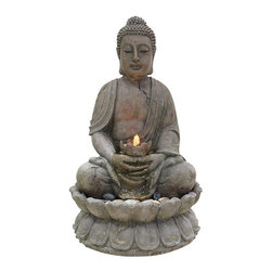 Alpine - Buddha Serenity Fountain - Our Tao fountains bring harmony, good fortune and vibrancy of the natural world to any environment. This beautifully designed Buddha fountain will become a tranquil focal point in your garden. Crafted from durable fiberglass with a stone look finish. Features: -Hand-crafted.-Material: Durable fiberglass.-Low soothing water sound.-Beautifully detailed design.-For indoor or outdoor use.-Includes LED lights and pump.-Collection: Buddha.-Distressed: No.Dimensions: -Overall dimensions: 33'' H x 20'' W x 20'' D.-Overall Product Weight: 34 lbs.Warranty: -1 Year Warranty.