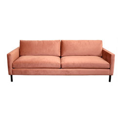 Cobble Hill Francis Metal Leg Sofa - The rusty velvet of this couch is so sumptuous. Put it on a black and white striped rug for a good match.