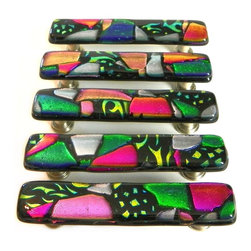 Custom Kitchen Cabinet Handles - Artisan glass cabinet hardware by Uneek Glass Fusions. Custom design, colors, sizes, and screw placement.  Price is for one handle.