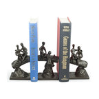 Danya B - Children on a Tree Trunk Metal Bookend Set - Three piece cast iron bookend set of children reading  and playing on a tree trunk shows the child's enjoyment of a good book. Handcrafted using the sand casting method and lined with velveteen to protect furniture. Great gift for mothers, grandmothers, teachers and just about any avid reader!